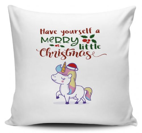 Christmas Unicorn Funny Novelty Christmas Cushion Cover